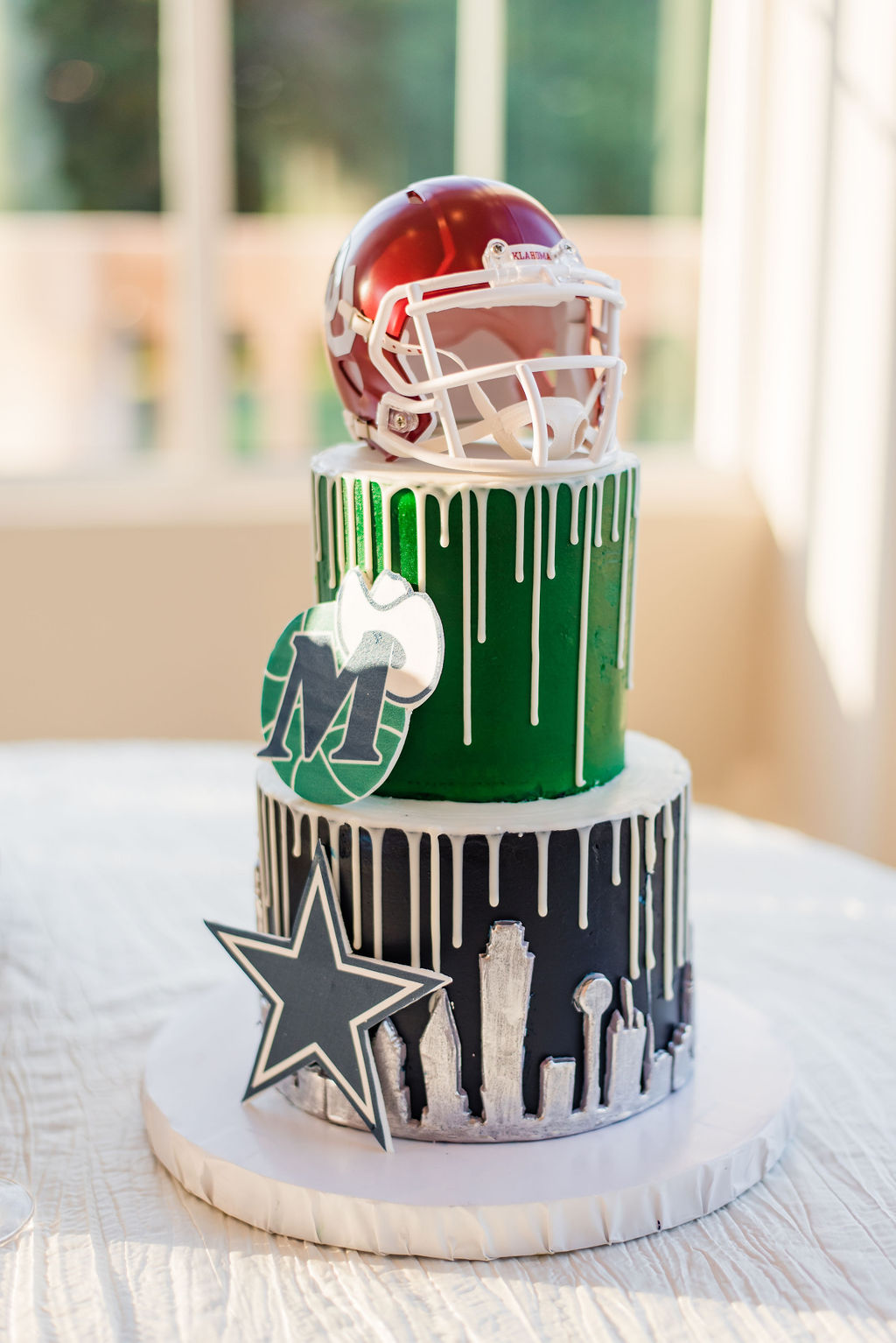 Football groomsman cake