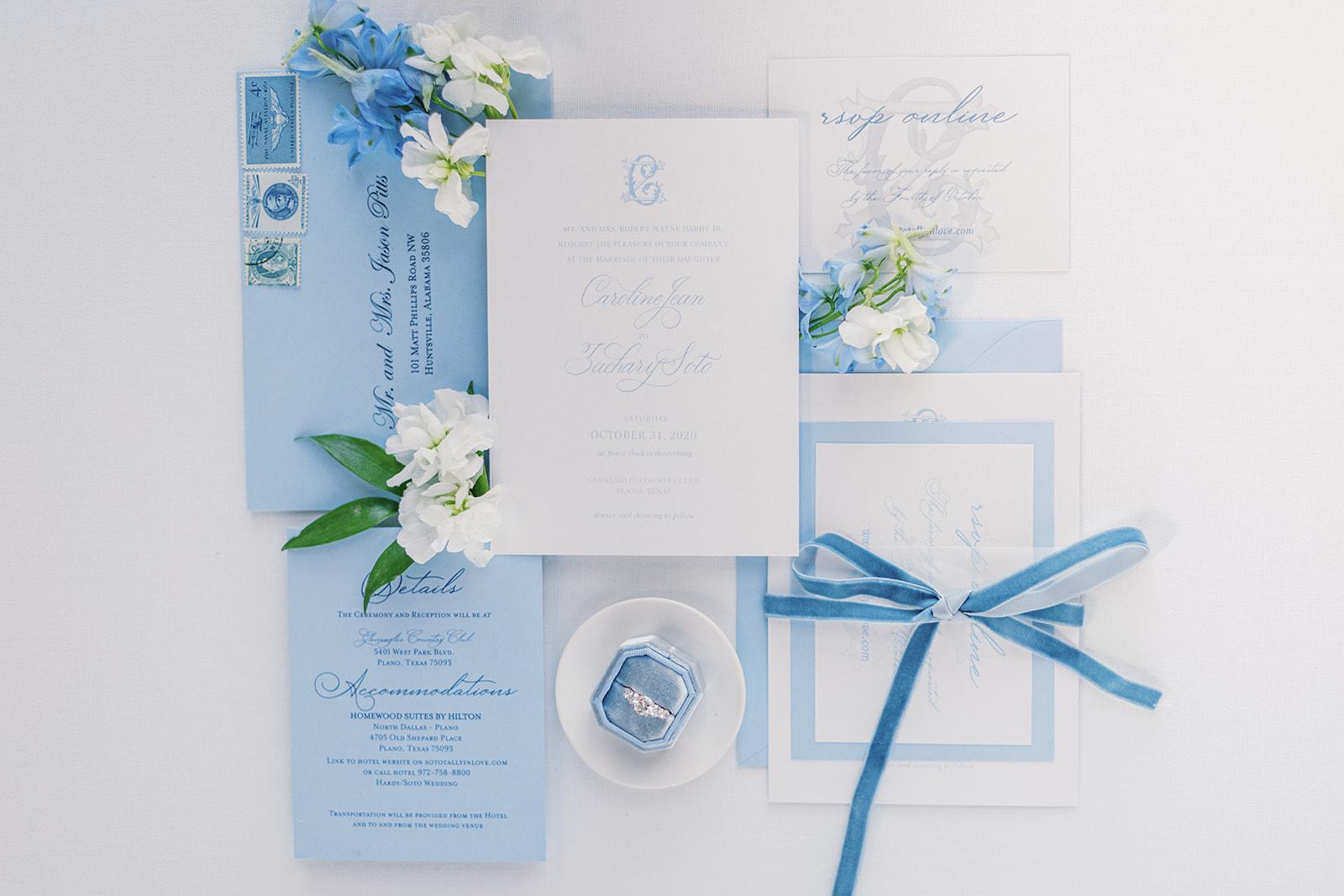 Paper Affair Dallas blue wedding invitation design