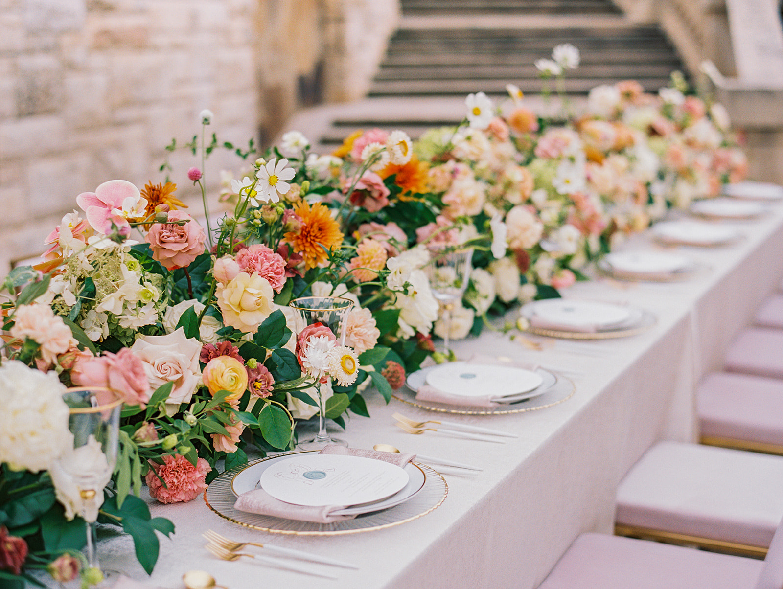 Colorful wedding flower table runner | Alexa Kay Events