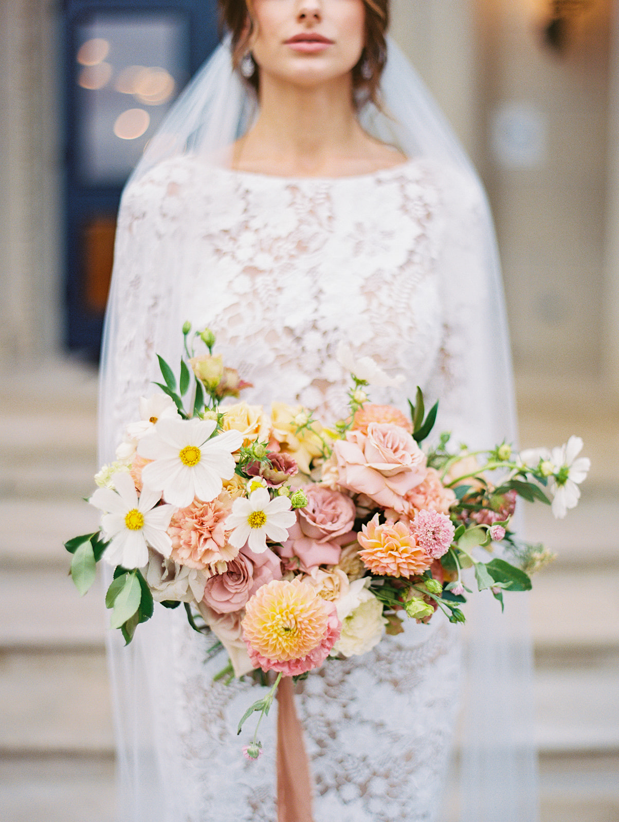 Colorful pink and white wedding bouquet   Blushington Blooms   Alexa Kay Events