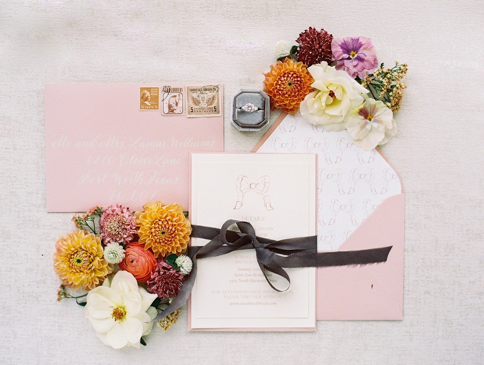 Elegant wedding invitation suite design | Alexa Kay Events