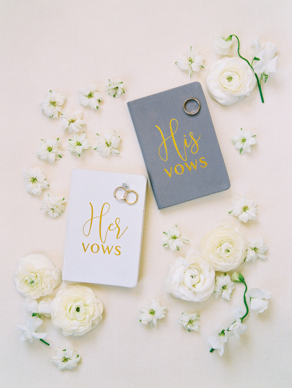 White and Gold Wedding Vow Books | Alexa Kay Events
