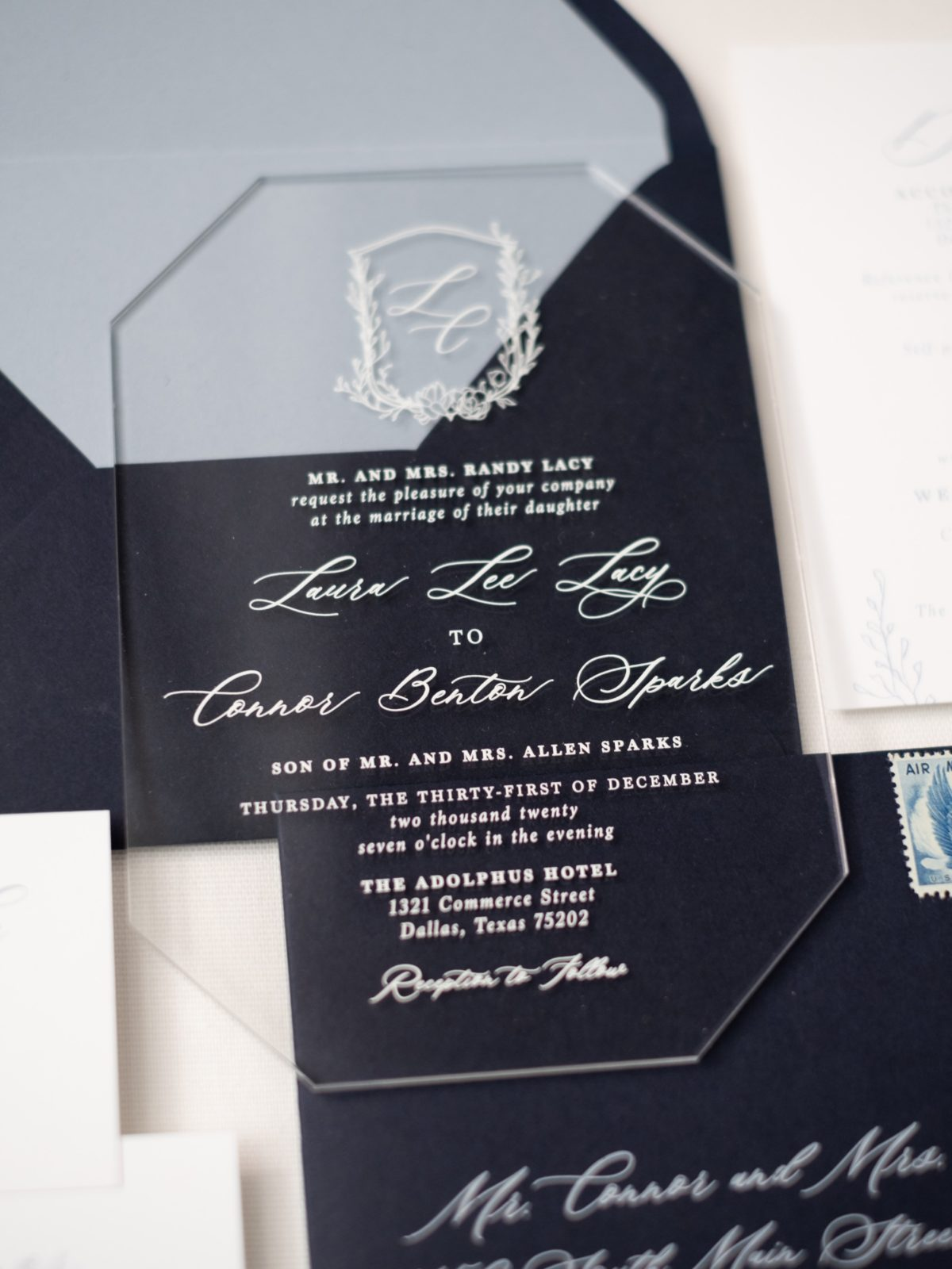 Acrylic wedding invitation with custom monogram by Brown Fox Creative | Alexa Kay Events