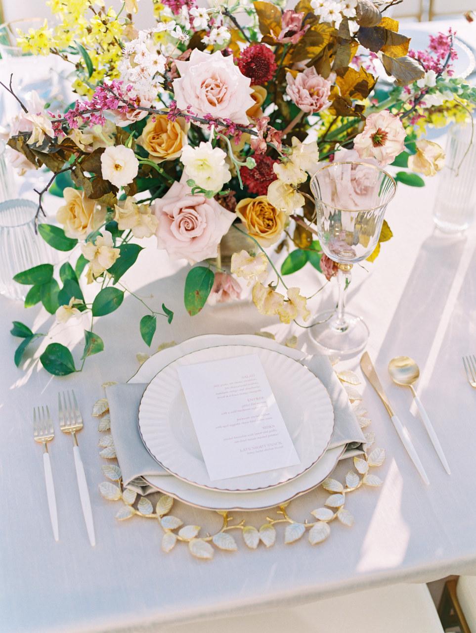 Organic spring wedding table decor