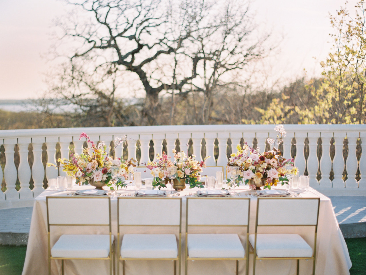 White and gold organic spring wedding chair