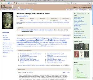 Benutzeroberfläche von Librarything