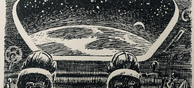 """""""Die Rakete überfliegt in 1700 km Höhe Mittelamerika"""" - Blick aus dem Raumschiff - """"Erde ohne Nacht"""" von H.L. Fahlberg, Illustration: Karl-Heinz Birkner"""