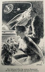 """Mit Blumentopf und Tabakspfeife in den Kosmos: """"Eine Zubringerrakete hat weiteres Baumaterial für den Trabanten gebracht und wird nun entladen"""" - """"Erde ohne Nacht"""" von H.L. Fahlberg, Illustration: Karl-Heinz Birkner"""