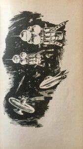 Die Unsichtbaren - Günther Krupkat - Illustration: Hans Rede - Raumschiffe Phobos und Deimos werden an Raumstation Kosmos III montiert