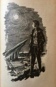 Die Unsichtbaren - Günther Krupkat - Illustration: Hans Rede - Eliza vor dem Raumschiff Luna