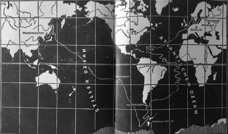 """Das Geheimnis zweier Ozeane - G. B. Adamow - Reiseroute der """"Pionier"""""""
