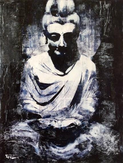 «Buddha on newspaper», acrylic on canvas, newspaper, 80 x 60 cm, 北京 2016