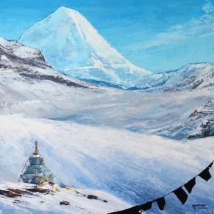 «The Peak. Inner Tibet series», acrylic on canvas, palette knife, 80 x 80 cm, 北京 2016