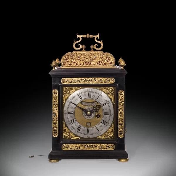 17th-Century Ebony Veneered Table Clock with Alarm and Pull Quarter Repeat