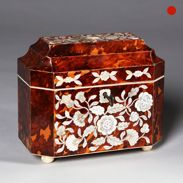 William IV Mother of Pearl Inlaid Tortoiseshell Tea Caddy