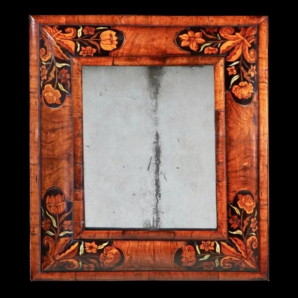 17th Century William and Mary Figured Walnut Marquetry Cushion Mirror