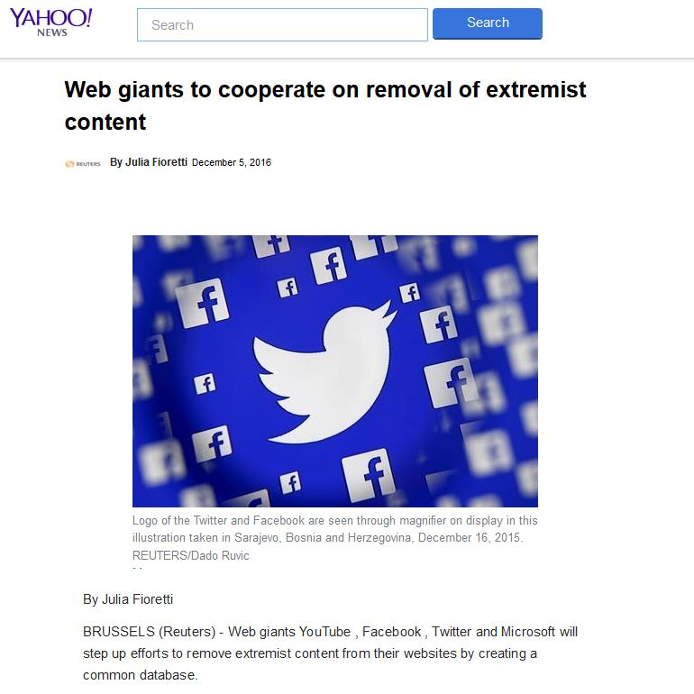 Google, Facebook, Microsoft and Twitter have announced plans to launch a shared internet censorship database.