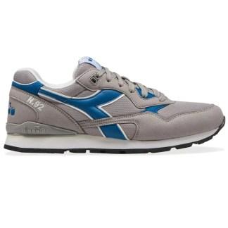 scarpe da uomo diadora n92 nuova collezione 2021 primavera estate camoscio grigio blue blu alexander john shoes