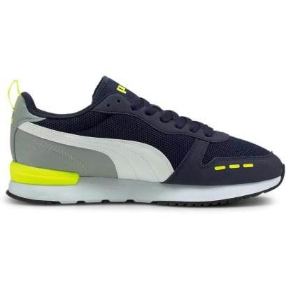 Scarpe da uomo del brand PUMA modello R78 tomaia scamosciata e tela colore Blu grigio giallo fluo, scopri tutti i modelli su Alexanderjohn.it