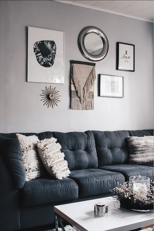 gallery wall and couch