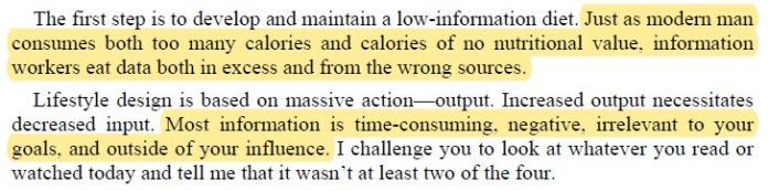 Capture from The 4-Hour Work Week by Tim Ferriss - The Information Diet