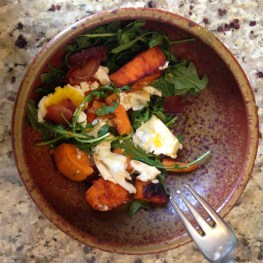 Sweet Potato, Arugula, and poached eggs