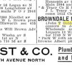Ad for the Browndale Liquor Company within the Minneapolis City Directories