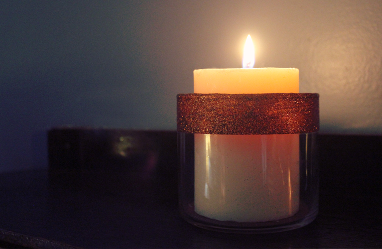 DIY Candle Holder - Orange Glitter |Alex Inspired