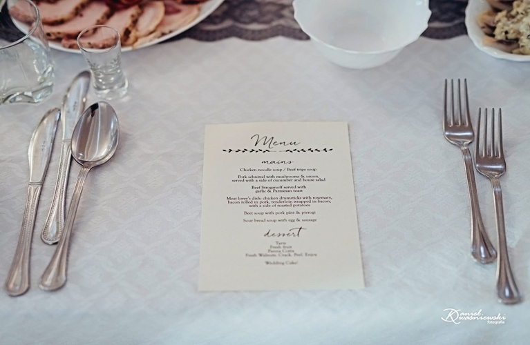 Paulina & Jordan - Wedding Menu Design - Custom design for their Polish Wedding
