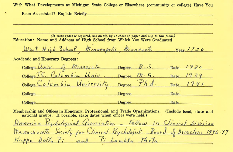 Kathern McKinnon's Biographical Information from Michigan State College   Alex Inspired