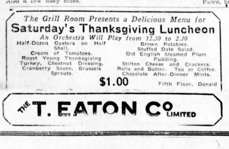 Ever wonder what it would have been like to have Thanksgiving Dinner at the Eaton's Grill Room? | Alex Inspired