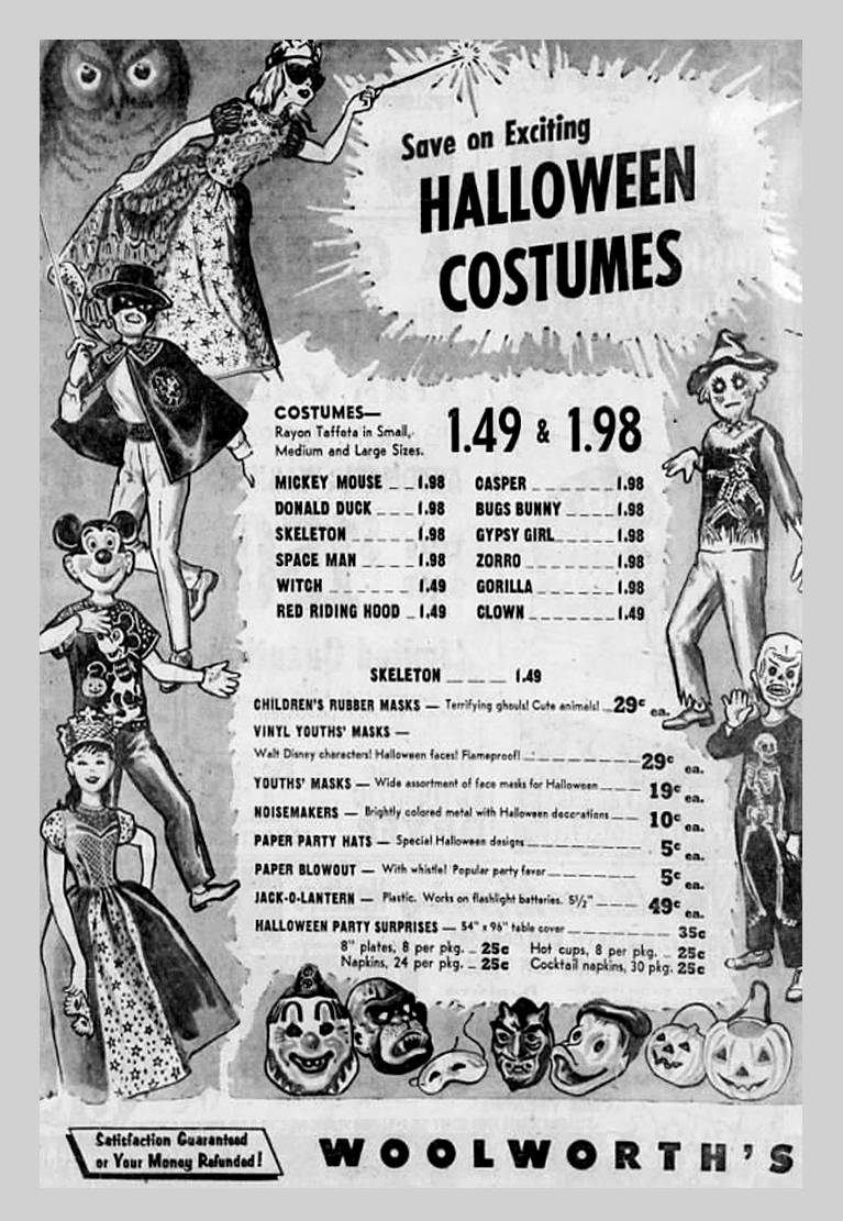 Woolworths Vintage Halloween Costume Ads | Alex Inspired