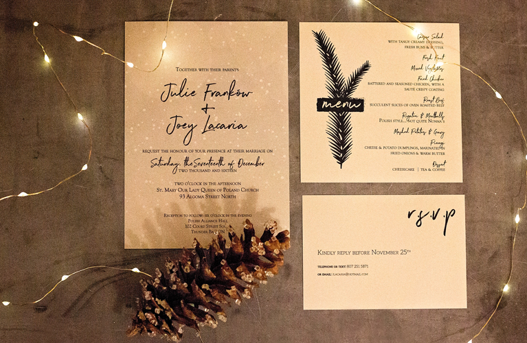 Custom Winter wedding Invitations and menus - Julie + Joey Winter Wedding | Alex Inspired