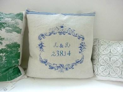 Kissen für ein Hochzeitspaar, im Siebdruck von Hand gedrucktes Unikat