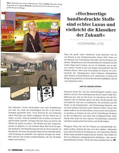 Alexandra Lenz Siebdruck im Münster Magazin Februar 2013