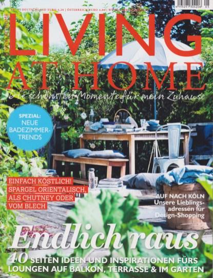 """In der Zeitschrift """"Living at home"""" 5/17 unter der Rubrik """"Auf nach Köln, unsere Lieblingsadressen für Design-Shopping"""" wird auch über mein Atelier und meine Produkte berichtet. Ich freue mich!"""