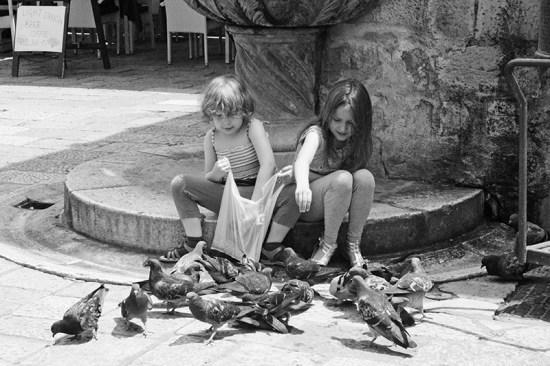 Dubrovnik - Children Feeding Pigeon