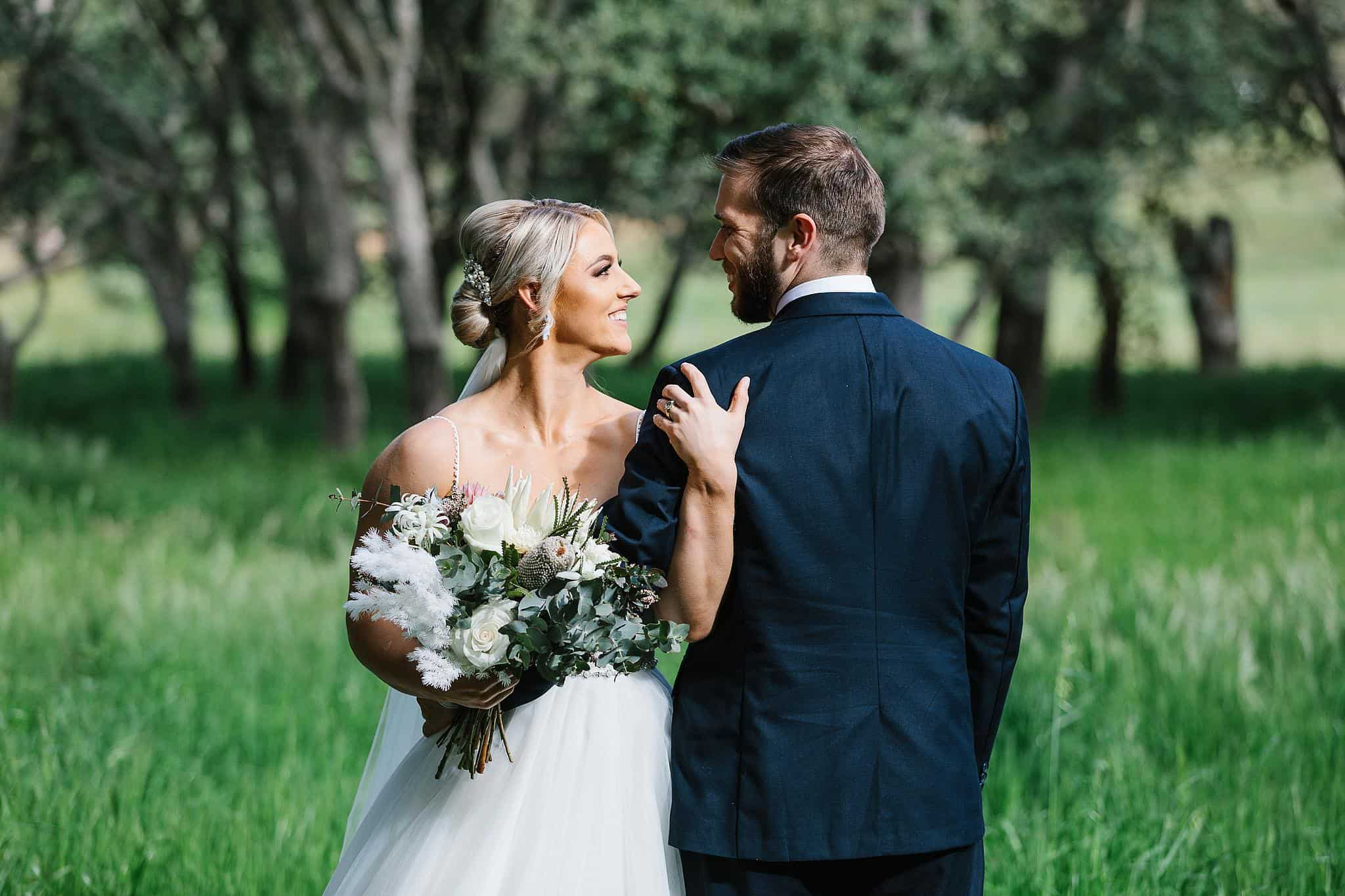 Bride and groom share an intimate moment