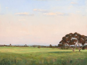 Painting of Brady's Farm, Gipplsand in the evening