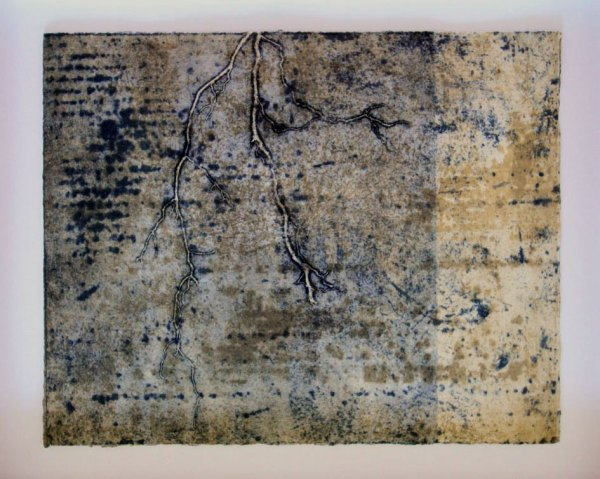 Earthworks 8, intaglio and relief print by Helen Mueller