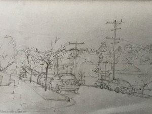 Drawing of Findon St, Hawthorn by Alexandra Sasse