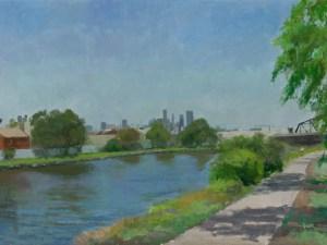 Painting by Alexandra Sasse Bike track, Maribyrnong River, Footscray. 2021