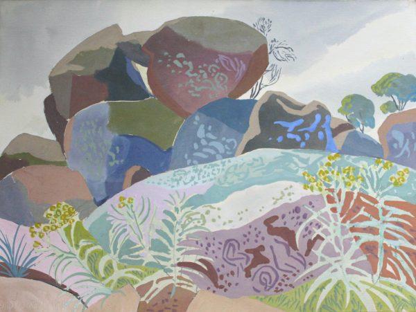 Mark Dober painting Rocks, Spring (Nuggetty Hills)