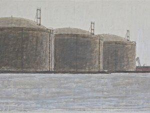 Hendrik Kolenberg painting 'LNG storage tanks, Maasvlakte, Rotterdam'
