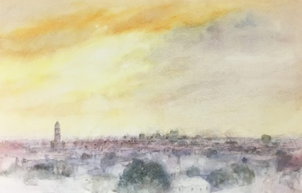 watercolour painting 'Storm approaching, evening, North Melbourne' Alexandra Sasse