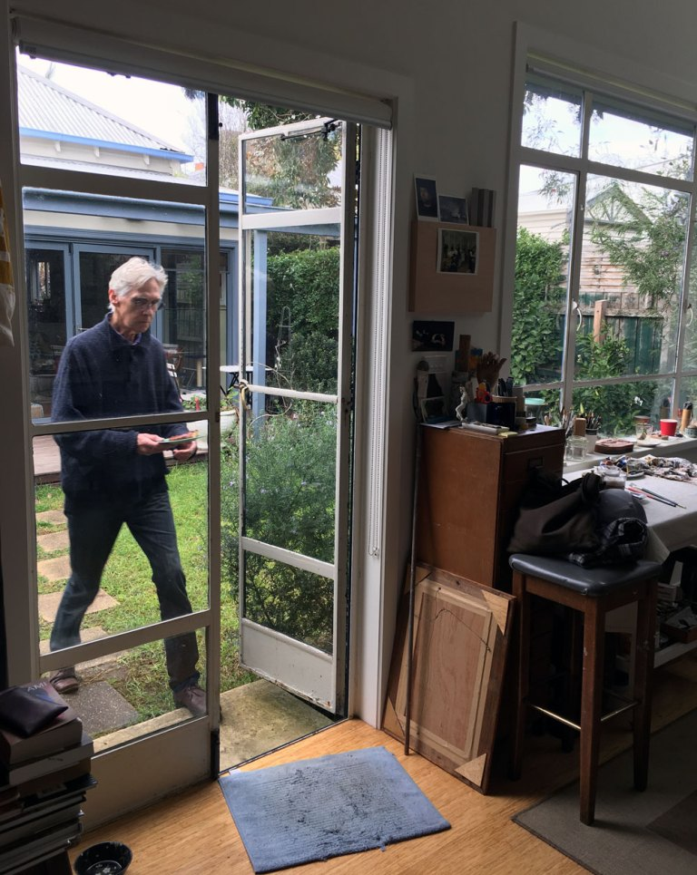 John Scurry at his studio during the sixth Melbourne lockdown.