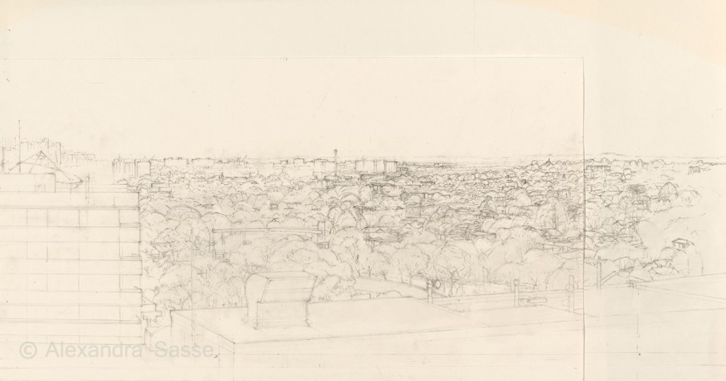 Drawing of Hawthorn looking towards Richmond