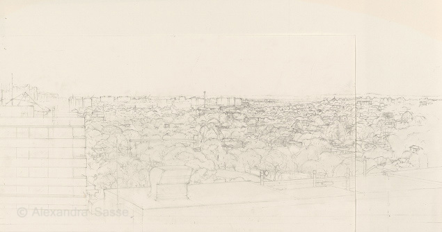 Drawing of Hawthorn looking towards Richmond in pencil on paper