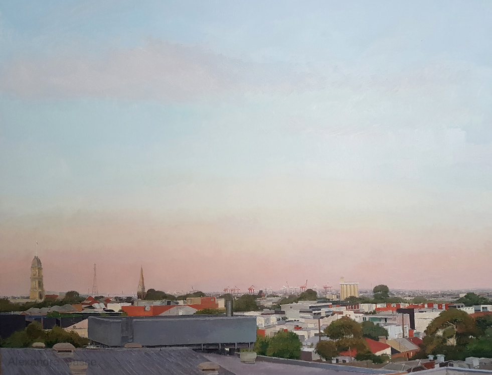 Australian landscape painting by Alexandra Sasse of North Melbourne in the early morning