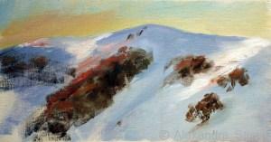 Australian Landscape Paintings 'Sunset Falls Creek' Alexandra Sasse 16 x 29cm